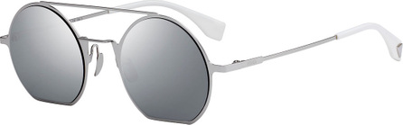 Fendi Straight-Brow Round Metal Sunglasses