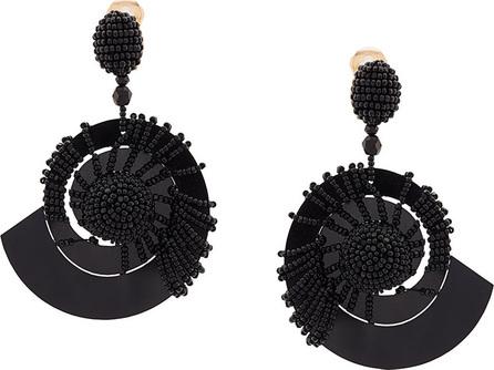 Oscar De La Renta beaded seashell earrings - Black OYfMJY