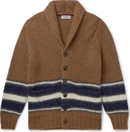 Brunello Cucinelli Shawl-Collar Striped Alpaca-Blend Cardigan