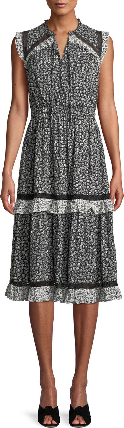 Kate Spade New York plains ditsy dress w/ tiered skirt
