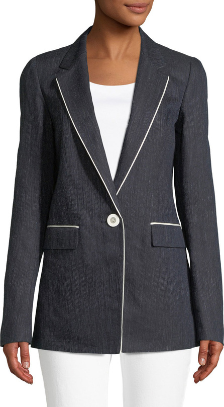 Lafayette 148 New York Rhoda Contrast-Trim Denim Blazer