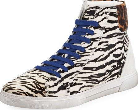 Saint Laurent Men's Joe Chess Animal-Print Leather High-Top Sneakers