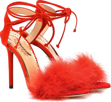 Charlotte Olympia Salsa 110 feather-trimmed sandals