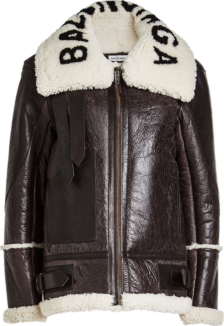 Balenciaga Shearling and Leather Jacket with Logo Collar