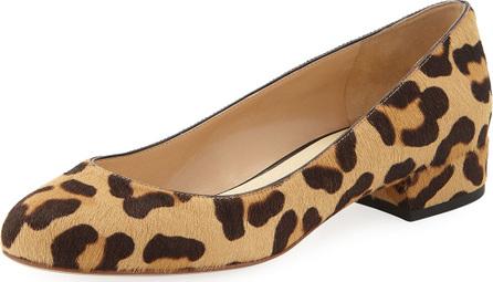 Francesco Russo Leopard Fur Ballerina Flats