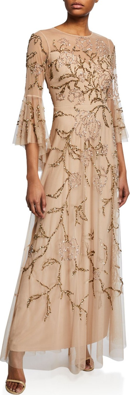 Aidan Mattox Flutter-Sleeve Beaded Tulle Illusion Gown
