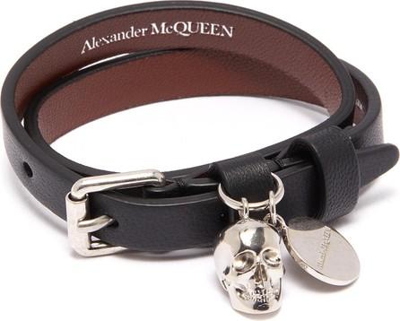 Alexander McQueen Skull charm double wrap leather bracelet