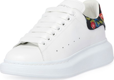 Alexander McQueen Platform Leather Sneakers with Flower Back
