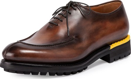Berluti Lace-Up Leather Oxford, Brown