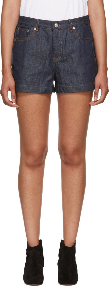 A.P.C. Blue High Standard Denim Shorts
