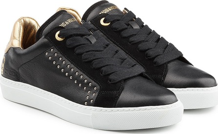 Zadig & Voltaire Embellished Leather and Suede Sneakers
