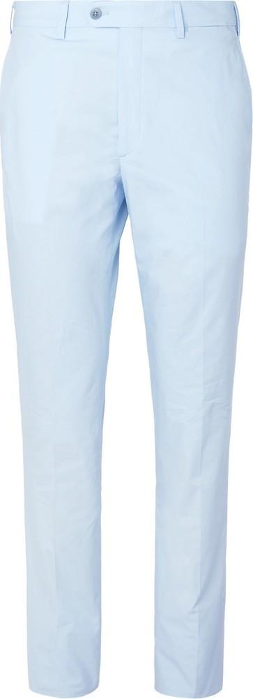 Brioni Sky-Blue Slim-Fit Tapered Cotton-Poplin Suit Trousers
