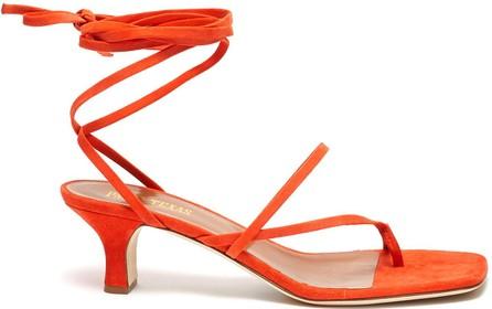 Paris Texas Lace up toe ring suede sandal