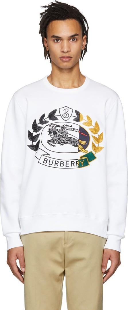 Burberry London England White Embroidered Crest Sweatshirt