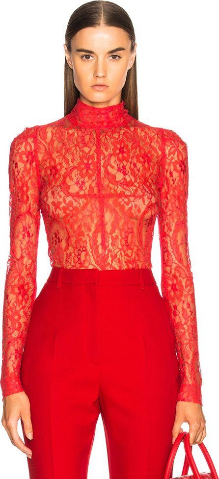 Givenchy Lace Long Sleeve Turtleneck Bodysuit