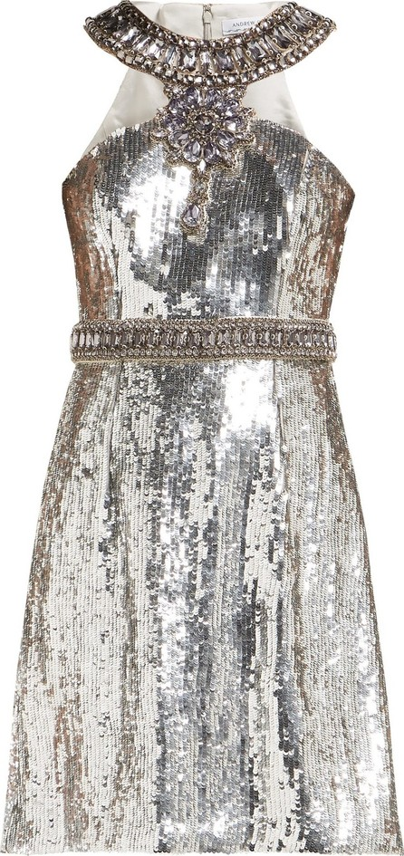 Andrew Gn Crystal and sequin-embellished mini dress