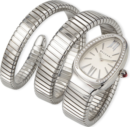 BVLGARI 35mm Serpenti Tubogas Diamond Watch, Steel
