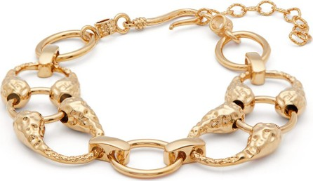 Attico Hammered gold-plated ankle bracelet
