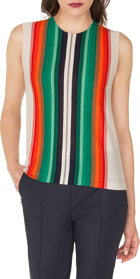Akris Sleeveless Crewneck Striped Cashmere-Silk Pullover Shell
