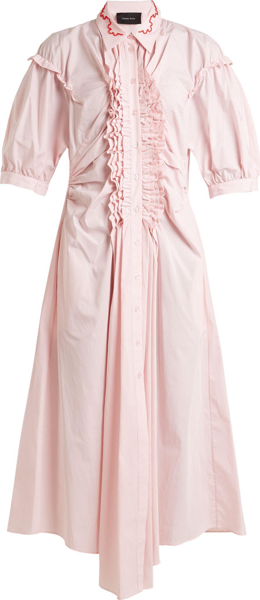 Simone Rocha - Ruffle-trimmed striped cotton midi dress