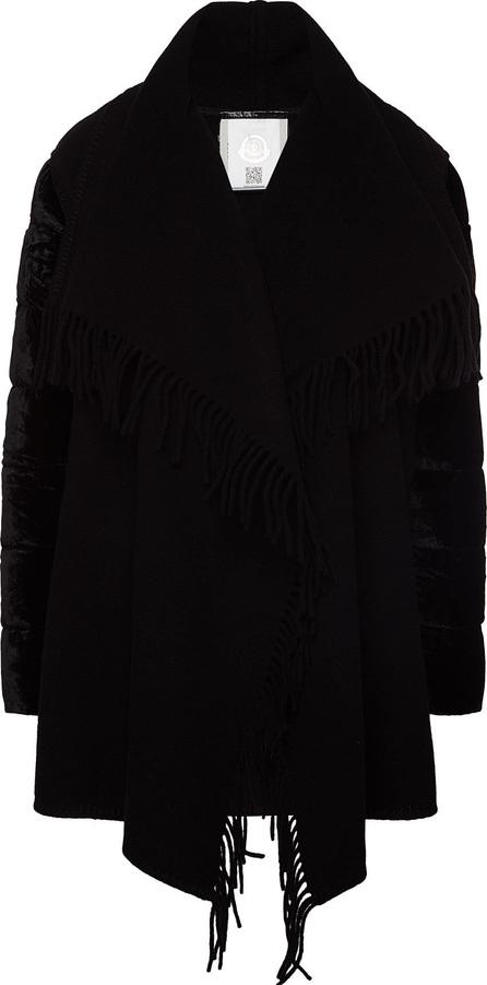 Moncler Cardigan Coat with Velvet Sleeves