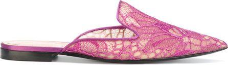 Alberta Ferretti lace detail mules