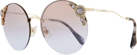 Miu Miu Stone-Trim Semi-Rimless Gradient Round Sunglasses