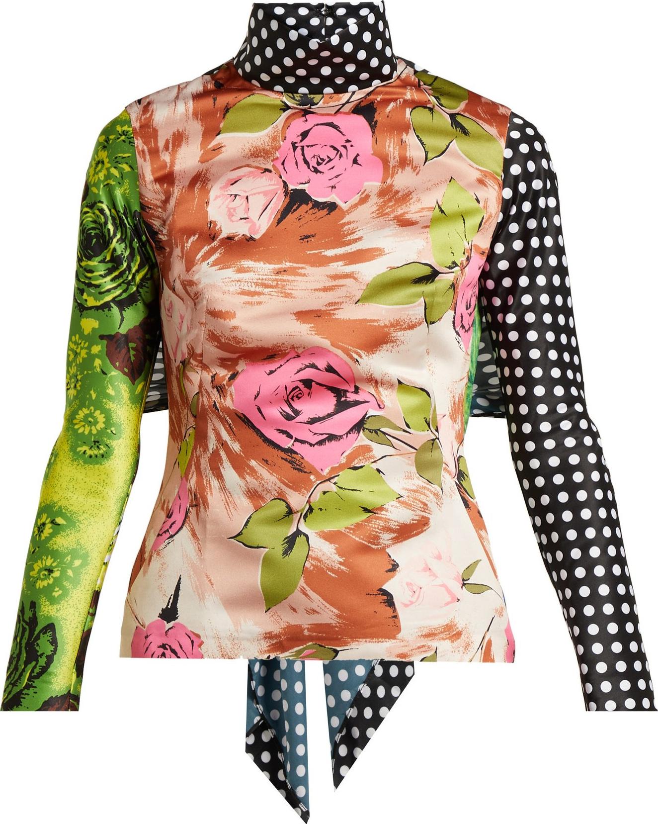 Richard Quinn - Tie-back floral-print panelled top