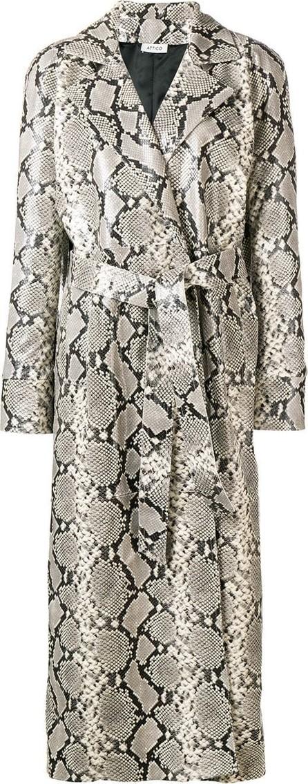 Attico Snakeskin-effect trench coat