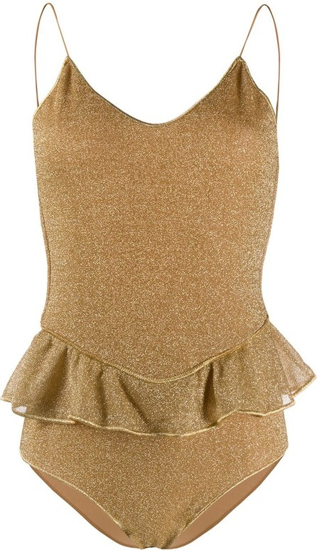 Oseree Metallic ruffled swimsuit