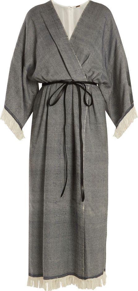 Adam Lippes Fringed wool-blend wrap dress