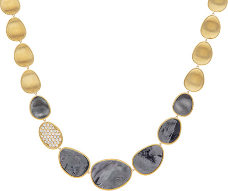 Marco Bicego Lunaria 18k Gold Collar Necklace with Black Mother-of-Pearl & Diamond