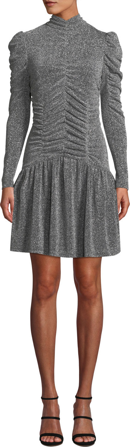 Rebecca Taylor Ruched Long-Sleeve Metallic Jersey Dress