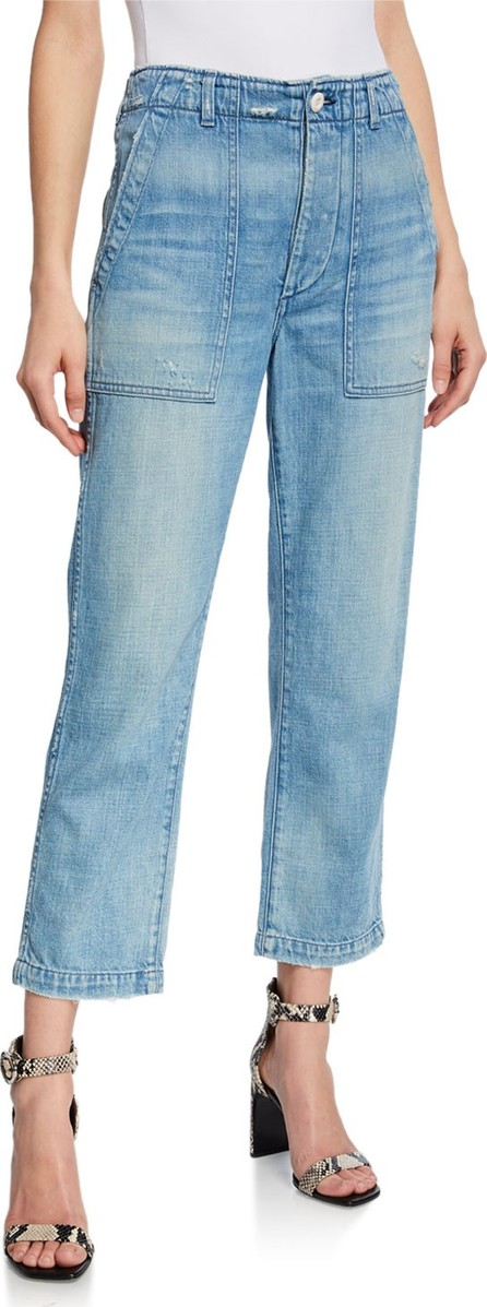 AMO Army High-Rise Straight-Leg Cropped Jeans