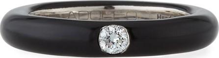 Adolfo Courrier 18k White Gold & Black Enamel Single Diamond Ring, Size 6.75