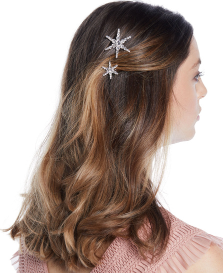 Jennifer Behr Orion Swarovski Crystal Star Bobby Pins, Set of 2