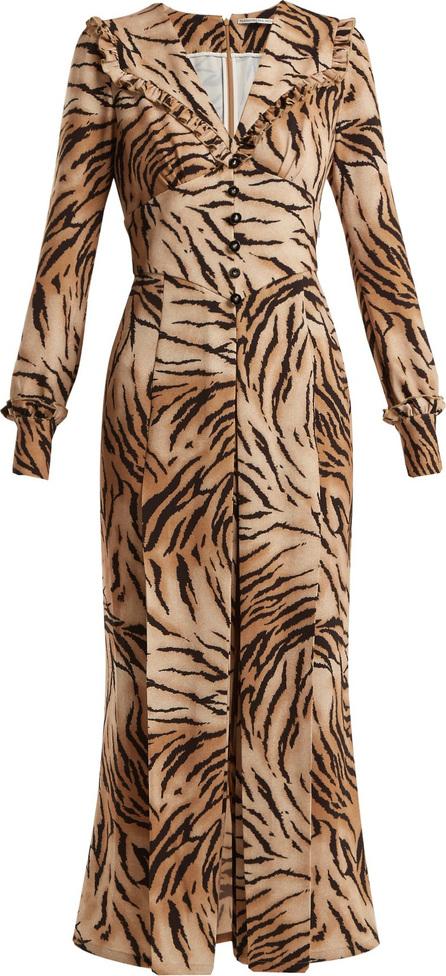 Alessandra Rich Tiger-print V-neck dress