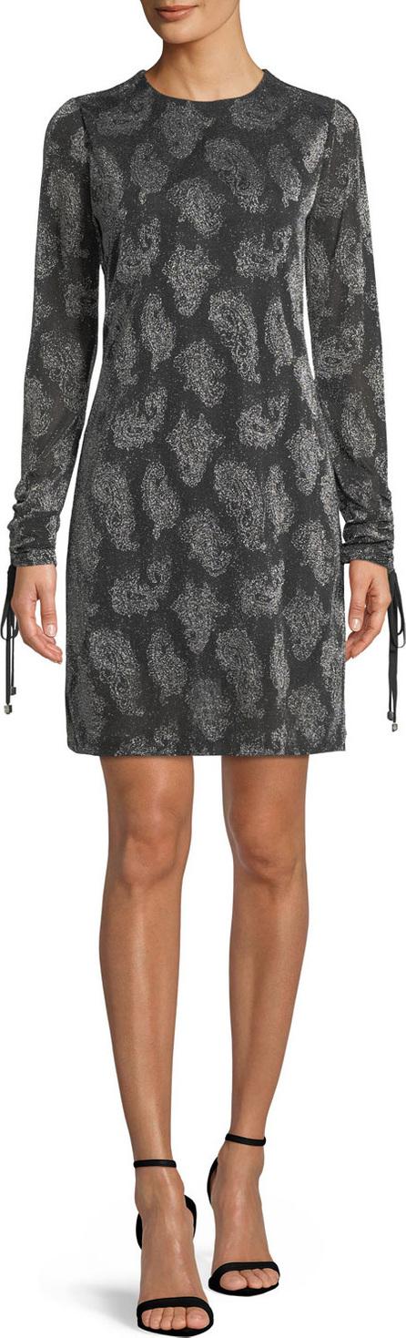 MICHAEL MICHAEL KORS Drawstring-Sleeve Jewel-Neck Metallic Paisley Jacquard Dress