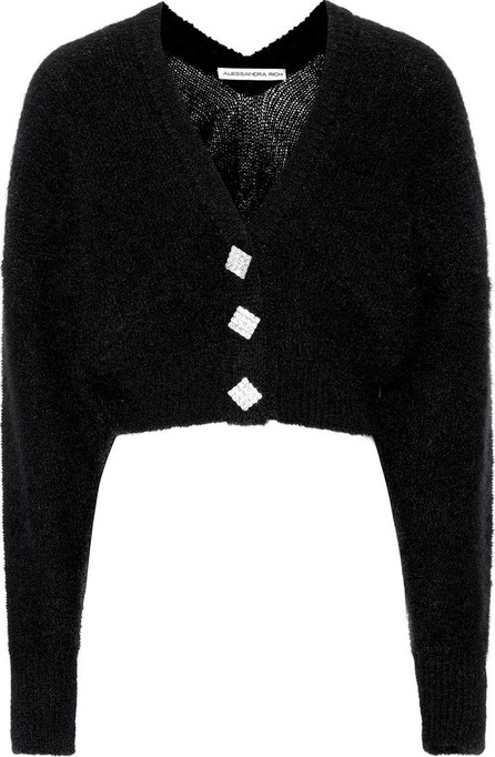 Alessandra Rich Cropped mohair-blend cardigan