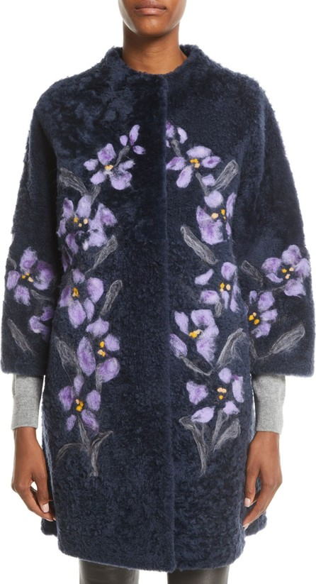 Christia Floral-Embroidered Lamb Shearling Fur Stroller Coat