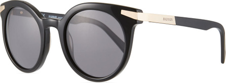 Balmain Round Acetate & Metal Sunglasses