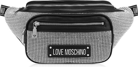 Love Moschino Silver Synthetic Crystals Belt Bag