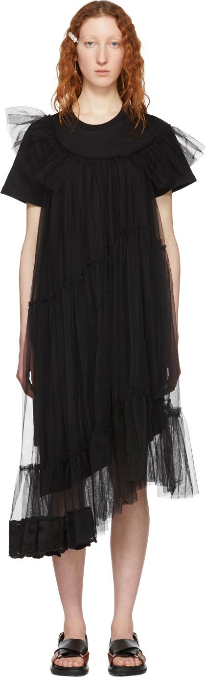 Simone Rocha Black Tulle T-Shirt Dress