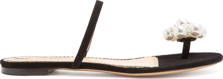 Charlotte Olympia Faux-pearl embellished toe-strap flats