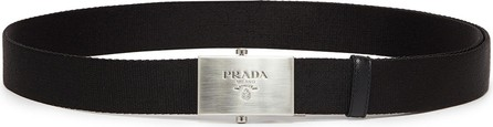 Prada Logo engraved buckle double strap belt