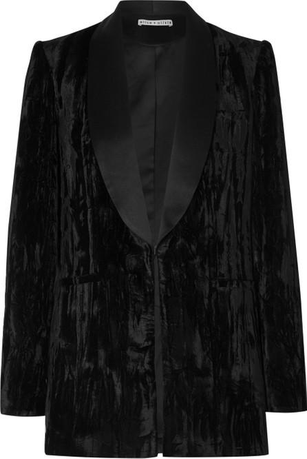 Alice + Olivia Macey satin-trimmed crushed-velvet blazer