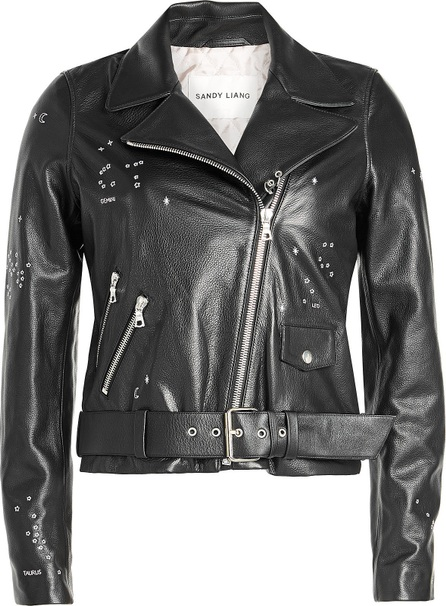 Sandy Liang Astro Delancey Embroidered Leather Biker Jacket