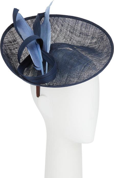 Jane Taylor Alessandra Straw Fascinator Hat w/ Feather & Twist Trim
