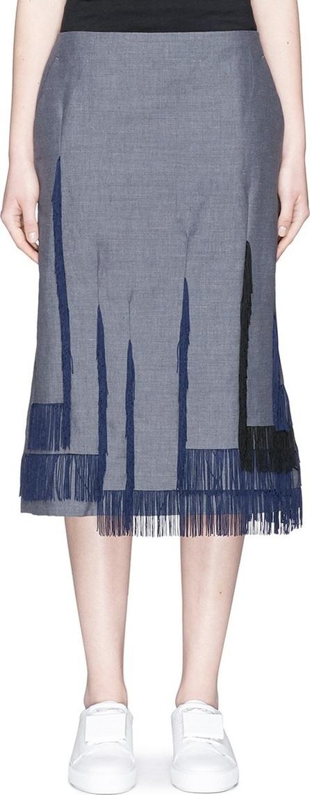 FACETASM Asymmetric fringe hopsack skirt