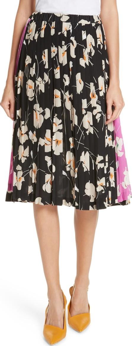 N°21 Nº21 Contrast Panel Floral Print Silk Skirt